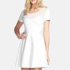 Like Mynded white Mesh Inset Skater Dress